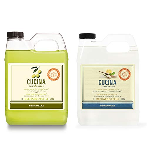 Fruits & Passion [Cucina] Purifying Luxury Hand Soap Refill, [33.8 Oz, 2-Set Bundle] Coriander & Olive Tree + Sea Salt & Amalfi Lemon