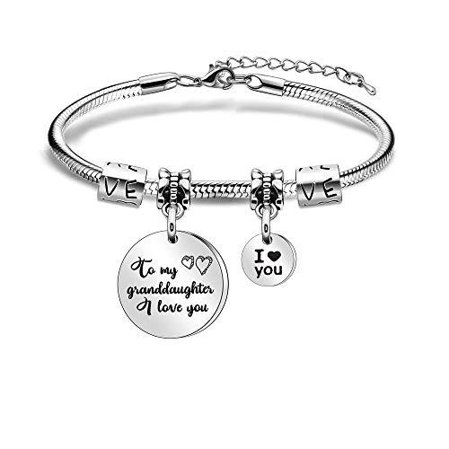 I Love You Bracelet for Granddaughter from Grandma Grandpa Women Bracelets for Grandaughter Christmas Birthday Family Jewellery
