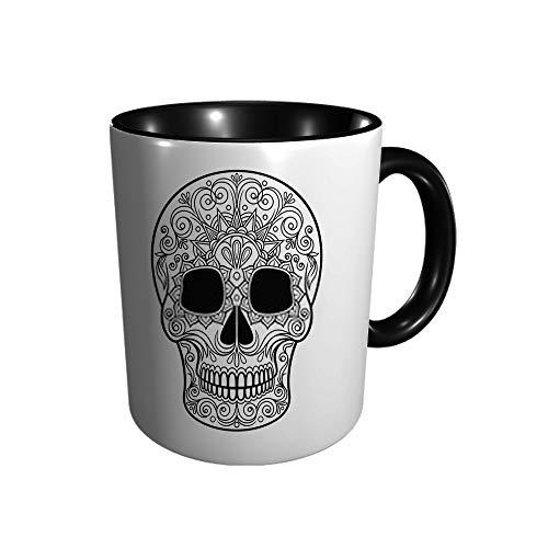 Taza lisa de cerámica con diseño floral de calavera mexicana, taza de café, taza de té, para oficina y hogar, regalo de salud, capacidad máxima 11 oz, impresión completa