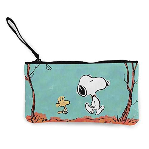 Snoopy - Monedero de lona resistente al desgaste, ligero y portátil, multifuncional, con cremallera, bolsa de cosméticos para mujer