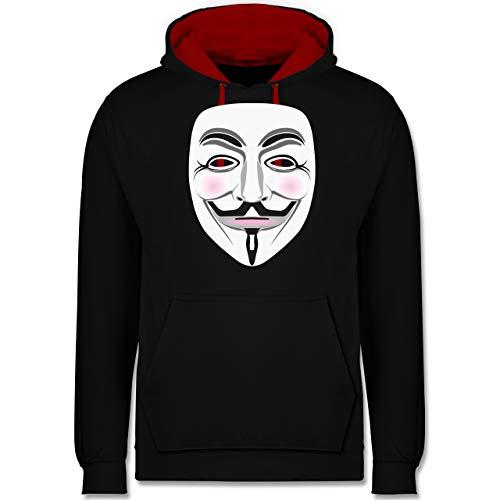 Shirtracer Nerds & Geeks - Anonymous Maske Hacker - 4XL - Schwarz/Rot - Hoodie Hacker - JH003 - Hoodie zweifarbig und Kapuzenpullover für Herren und Damen