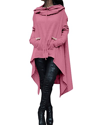 Sweat-Shirt à Capuche Femme Manche Longue Asymétrique Hoodie Pull Tunique Jumper Veste Pink 5XL