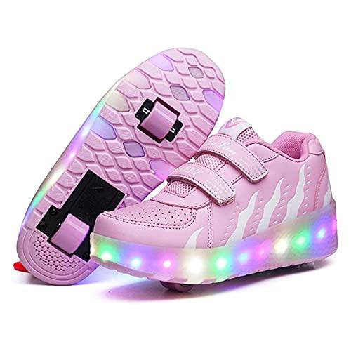 HANHJ Rollschuhe Unisex Roller Schuhe Kinder LED Farbe Licht USB Wiederaufladbare Skateboard Schuhe Rädern Abnehmbar Inline Skates Sneakers Pulley Schuhe Für Jungen Mädchen,Pink02-39