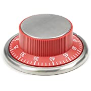 RSVP Endurance Stainless Steel Easy Read Kitchen Timer, Red