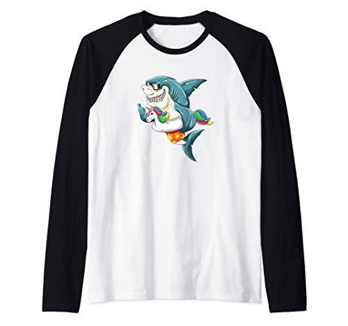Fiesta en la piscina Tiburón en unicornio flotador divertido Camiseta Manga Raglan