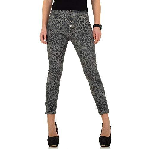 Ital-Design Animal Print Skinny Jeans Place du Jour Gr. 36 Dunkelgrau