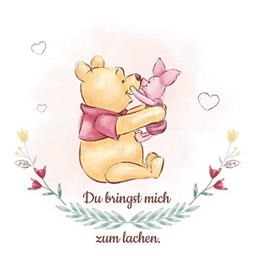 Keilbild Wandbild Leinwand | Winnie Pooh und Ferkel | Mit Spruch | 35x35 cm