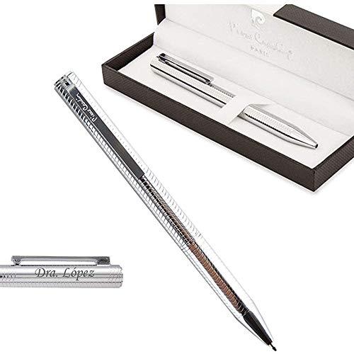 Bolígrafo clásico metal PERSONALIZADO grabado con el texto que indiques. Modelo plata brillo