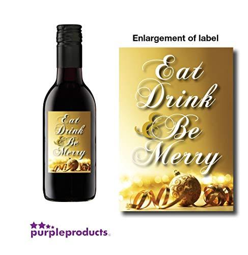 10 x Eet, Drink en Wees Vrolijk Kerstmis Mini Wijn, Niet alcoholische fles labels Celebration Gift
