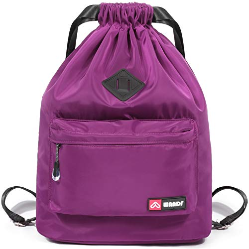 WANDF Drawstring Backpack String Bag Sackpack Cinch Water Resistant Nylon for Gym Shopping Sport Yoga by (actualización Azul púrpura)