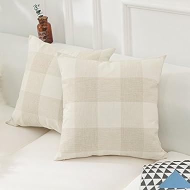 Home Brilliant Retro Checkers Plaids Farmhouse Tartan Soft Cotton Linen Home Spring Summer Decoration Throw Pillow Covers Shams Cushion Cases Cover for Sofa, 2 Pack, 18x18 inches(45x45cm), Beige White