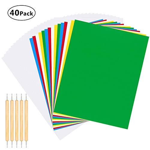 40 piezas de papel de transferencia y papel de calco con lápiz capacitivo en relieve, patrón de transferencia en paño de punto de cruz, lona, madera para el hogar, kit de pintura de costura