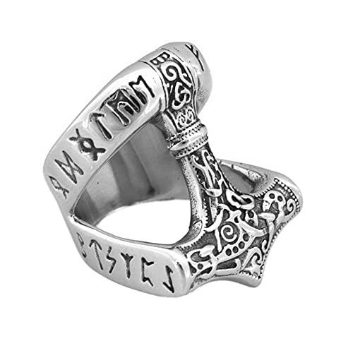 Viking Masculino Runic Thor's Hammer Mjolnir Ring, Anillo Banda Acero Inoxidable del Tótem del Nudo Celta Nórdico, Hip Hop Medieval Hecho A Mano Vintage Joyería Protección Escandinava ( Size : 08 )
