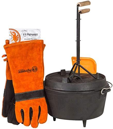 Petromax Feuertopf Starterset ft4.5 (Dutch Oven mit Standfüßen) inkl. Schaber + Handschuhe + Profi-Deckelheber