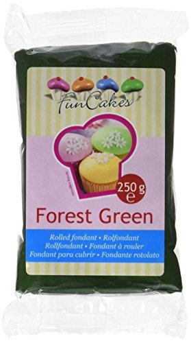 FunCakes Fondant Forest Green: Einfach zu Verwenden, Glatt, Elastisch, Weich und Schmeidig, Perfekt zum Dekorieren von Torten, Halal, Koscher und Glutenfrei. 250 g, Grün
