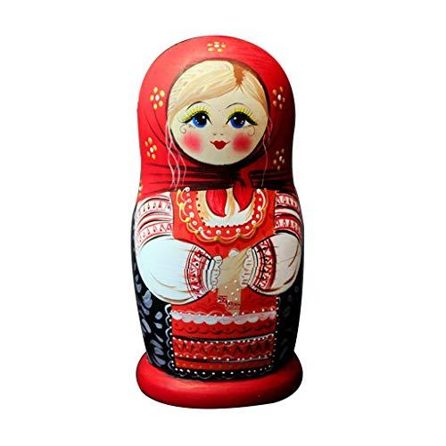 Muñecas Rusas 7 Capas/Set muñecas Rusas de Madera Anidando Doncella Dolling Dolly Hechos a Mano matrioska russa niños Juguetes bebés Babushka Doll Regalos, 20 cm (7,9 Pulgadas) Hecho a Mano