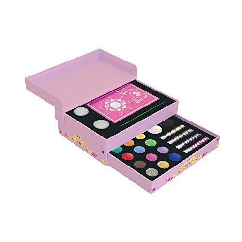Snazaroo - Petit coffret cadeau de maquillage facepaint avec bijoux - Bleu/Brun/Or/Vert/Orange/Rose/Rouge/Argent/Jaune, Boite cadeau