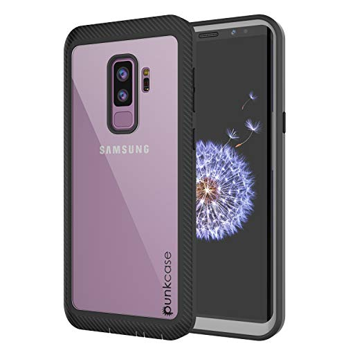 PunkCase Galaxy S9 Plus Case, [Spartan Series] Clear Rugged Heavy Duty Cover W/Built in Screen Protector | Ultra Slim 360 Full Body Protection Compatible W/Samsung Galaxy S9 Plus [Black]