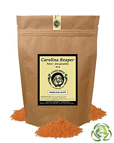 Uncle Spice Carolina Reaper Pulver - 50g schärfste Chili der Welt fein gemahlen in Premiumqualität - GRINGO KILLER - Chilischoten in Pulver, Chilipulver - 1.5 Mio Scoville - EXTREM SCHARF