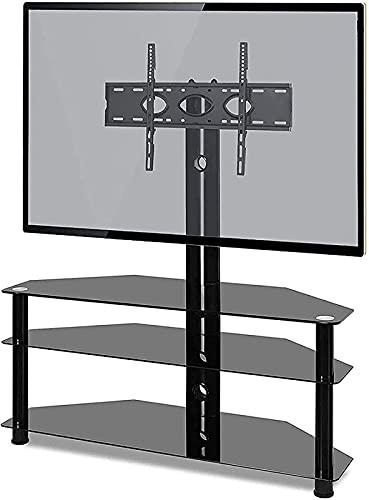DZCGTP Soporte de Esquina para TV para la mayoría de los televisores con Soporte de Montaje de Vidrio Templado TV Giratorio Negro máx 600x400 mm (Color: Negro)