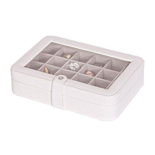 Mele & Co. 0055030M - Joyero de piel sintética con cristales (24 secciones), color marfil