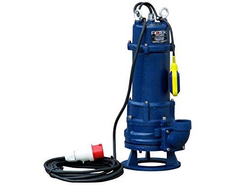 Rotek 3,0kW / 400V elektrische Schmutzwasser Tauchpumpe mit Schredderwerk (Häcksler) und Stahlgehäuse