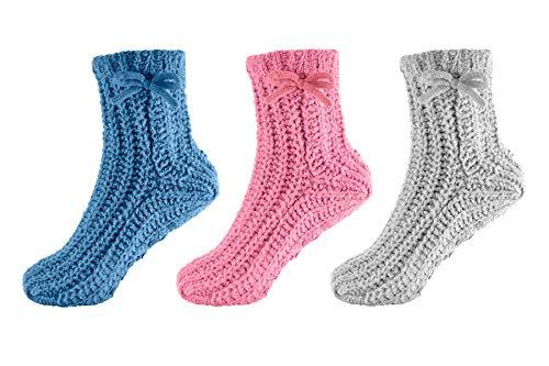 &ercover lingerie 3 Pairs Ladies Chenille Knitted Slipper Socks SK416 Mix