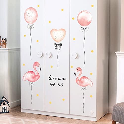 HFDHFH Dibujos Animados pájaro Rosa niña habitación Globo Etiqueta de la Pared habitación de los niños Dormitorio Vinilo Etiqueta de la Pared Globo Autoadhesivo Mural de Pared