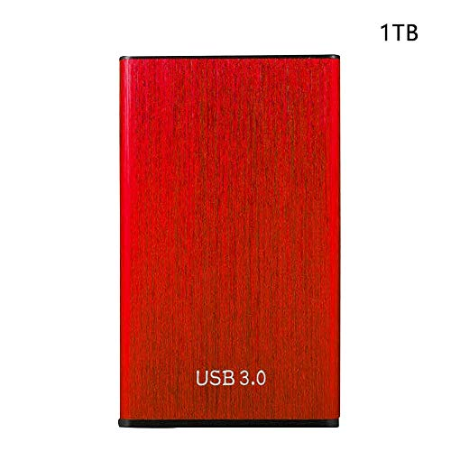 Externo Portátil Discos Duros, 500GB/1TB/2TB Disco Duro Externo, Ultrarrápido Portátil Delgado USB 3.0 Móvil HDD Accesorios Externa Disco Duro Conectar y Usar - Rojo (1tb)