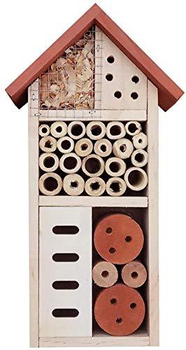 Ruiuzi Insektenhotel,aus Natürlichen Materialien Rotes Dach, Bienenhaus Marienkäferhaus Schmetterlingshaus, für Verschiedene Fluginsekten, Naturbelassenes Insektenhaus (Insect House)