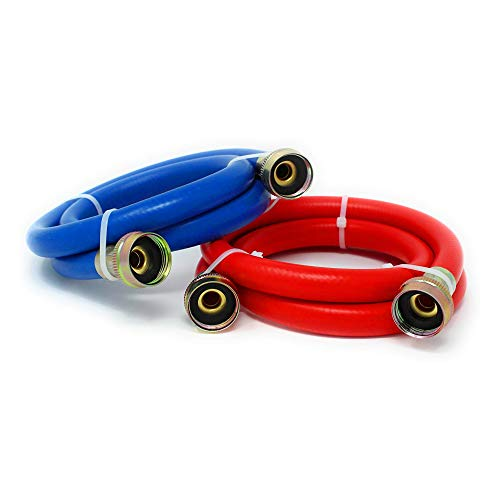 """Appliance Pros 6ft Blue and Red Rubber Washing Machine Inlet Hoses, PVC Covered Braided Hose, Hot & Cold Water Supply Hose for Washers, 3/4"""" - 2-Piece Set"""