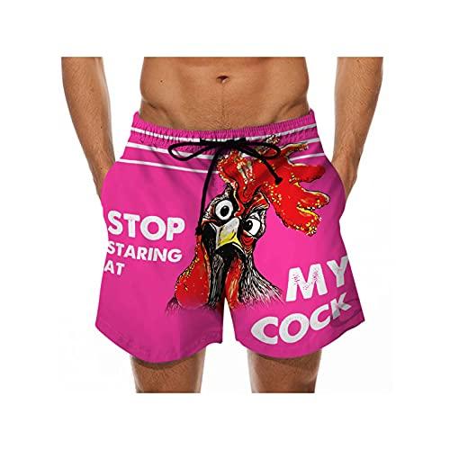 Mikelabo - Pantalones cortos de verano para hombre, pantalones cortos deportivos con cordón, cintura elástica, rosa, 54
