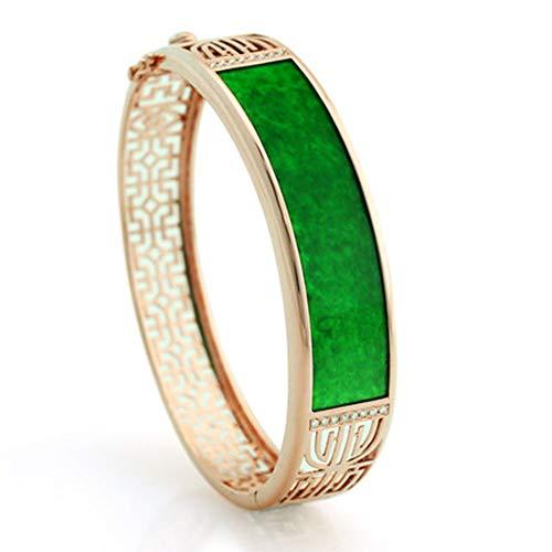 Genuino birmano pieno di verde smeraldo giada oro intarsiato giada gioielli braccialetto
