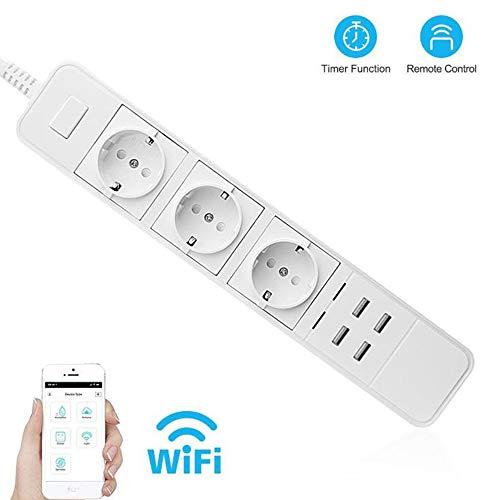 Smart WiFi Power, Protector contra sobretensiones de Banda, múltiples Tomas, 4 Puertos USB, Temporizador, Control Remoto por Voz, para Amazon Echo Alexa Google Home,EU