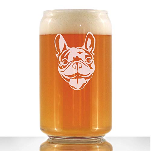 Happy Frenchie - Beer Can Pint Glass - Fun Unique French Bulldog Dog Themed Décor and Gifts for Men & Women - 16 oz