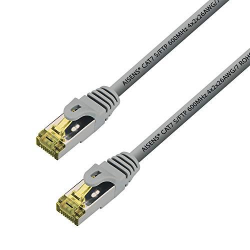 AISENS - A146-0332 Cable de Red latiguillo RJ45 LSZH Cat.7 600 MHz s/FTP pimf awg26, Gris, 25cm