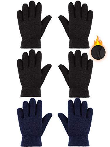 3 Pairs Kids Fleece Gloves Full Fingers Gloves Winter Soft Warm Gloves...