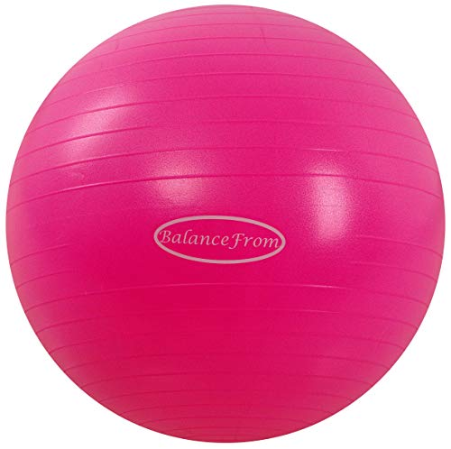 BalanceFrom Anti-Burst and Slip Resistant Exercise Ball Yoga Ball Fitness Ball Birthing Ball with Quick Pump, 2,000-Pound Capacity (48-55cm, M, Pink)
