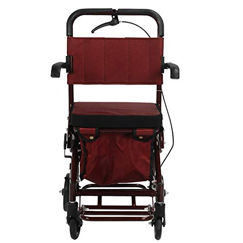 Folding Shopping Bags Walker Small Cart Old Cart Grocery Shopping Cart Wheelchair Pushable Can Sit Elderly Folding Walker Four-wheel Shopping Cart/Scooter Load Give the Best Gift for the Elderly Shopp