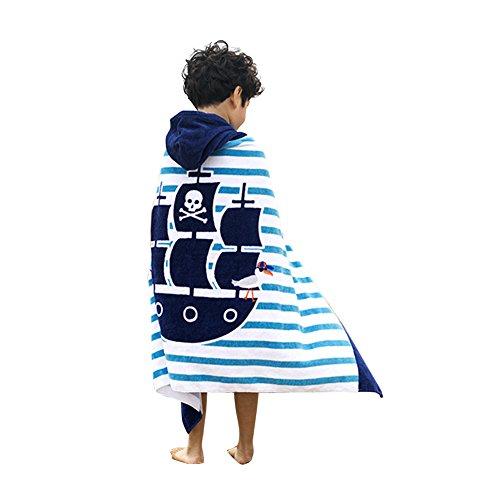 Kuuboo Kinder Bademantel mit Kapuze, 100 % Baumwolle, super weich, für Strand pirat