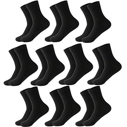 MOCOCITO 10 Pares Calcetines para Hombre y Mujer Calcetines Termicos de Algodón de Invierno para Hombre-Negro (Tubo Medio)