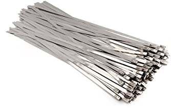 Vktech 100pcs Stainless Steel Exhaust Wrap Coated Locking Cable Zip Ties (11.8 Inch)