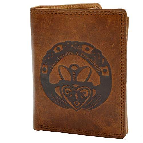 flevado Herrengeldbörse mit Druck Label Love,Loyalty, Friendship und RFID Schutz Echtes Leder Braun