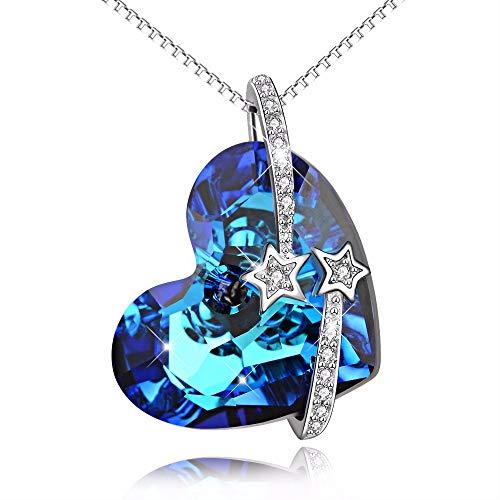 Inveroo Genios 925 Plata De Ley Azul Corazón del Océano Collar Te Amo A La Luna Y Espalda Colgantes Collares Mujeres Regalo