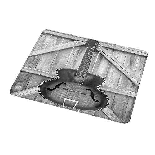 Maus Padgaming Western, Vintage Akustikinstrument Gitarre hängt an alten Holztür Zäune Country Ranch, grau Blackfor Gaming