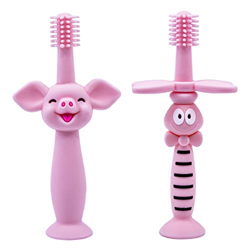 Evergreen Baby Toothbrush  Teether 360 Brush for Toddler Infant Newborn Girls Boys  Soft Safe Silicone Bristles No BPA  Funny Pig and Bee Design  Provides Sensory Relief for Teething  Pink
