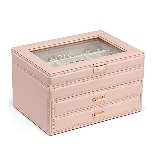 WPJ Caja de Organizador de Joyas de Las Mujeres, Caja de joyería de Viaje portátil 3 Caja de joyería de exhibición Grande para Pendiente Collar Anillo (Color : Pink)