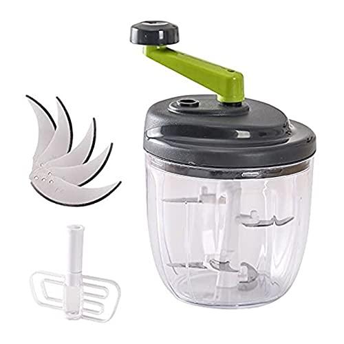 Picadora de Vegetales de manivela 500ml Procesador de Alimentos rápido con 5 Blad-e y un agitador Práctica Cuchilla para batir para ajo, Cebolla. (Size : Chopper Set)