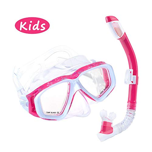Spofine Kids Snorkel Set, Snorkeling Mask for Kids Age 5 to 13, with Anti-Fog Tempered Glass, Dry Top Snorkel Gear for Kids, Children, Toddler Snorkeling, Swimming Pool, Diving, Scuba (Pink)