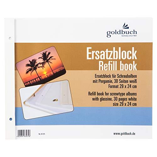 goldbuch Ersatzblock für Schraubalbum, 30 weiße Seiten mit Pergamin-Trennblättern, Passend für Alben mit einer größe von 30 x 25 cm, 83075